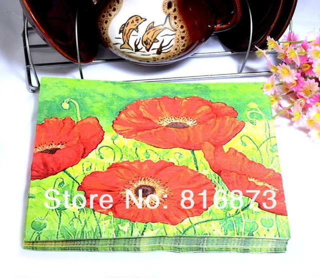 Red Floral Napkins (Tissue) in Green 20 Sheets For Wedding Decoration Party Gifts Stuff Supplies Wholesale Free Shipping