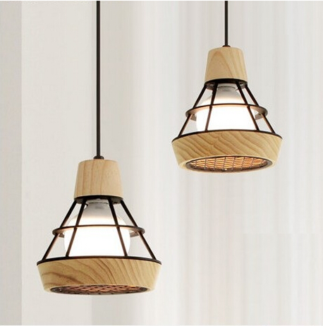 Nordic Simple Creative Wooden Modern LED Pendant Lights Fixtures For Dining R