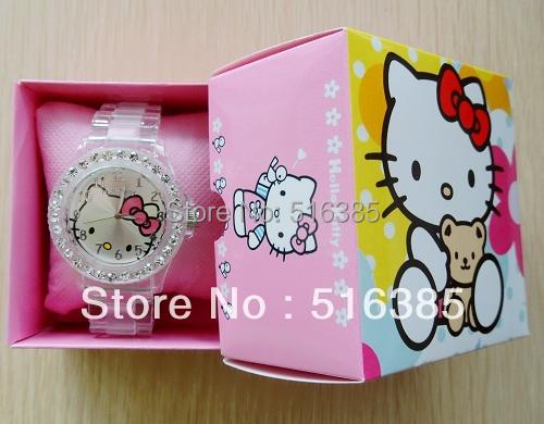 5set free shipping Hello Kitty watch fashion female students full transparent diamond watch with box cartoon watch with box(China (Mainland))