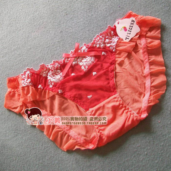 According to legend Yi.Legend small U.S. home orange flowers hollow embroidered gauze sexy briefs 6882-4(China (Mainland))