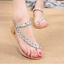 Free Post, 2016 Summer New Sweet Women Wedge Sandals Crystal Rhinestone Platform Flip Flops Bohemia Beaded Soft Shoes