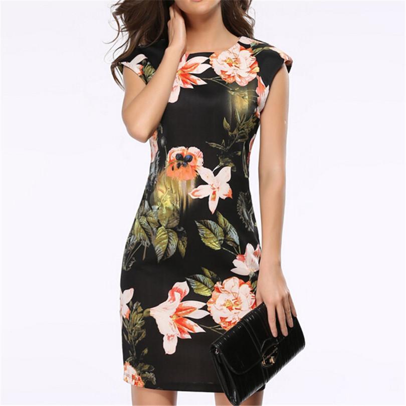 Arrivals Vrouwen Vintage Vestidos Jurk Mouwloze Zomer Bloemen Potlood Jurken Avondfeest Elegante Ontwerp Bloemen Kleding S154(China (Mainland))