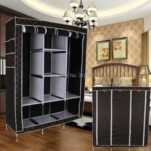 "48.4"" Portable Closet Wardrobe Clothes Rack Storage Organizer Garment Black(China (Mainland))"