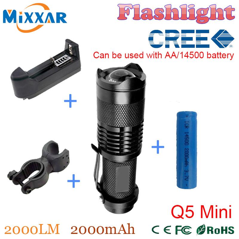 ZK50 Cree Q5 Hot Mini 2000LM Lanterna Adjustable LED Flashlight + bike holder+1*14500 2000mAh Batter+EU/US Charge RU(China (Mainland))