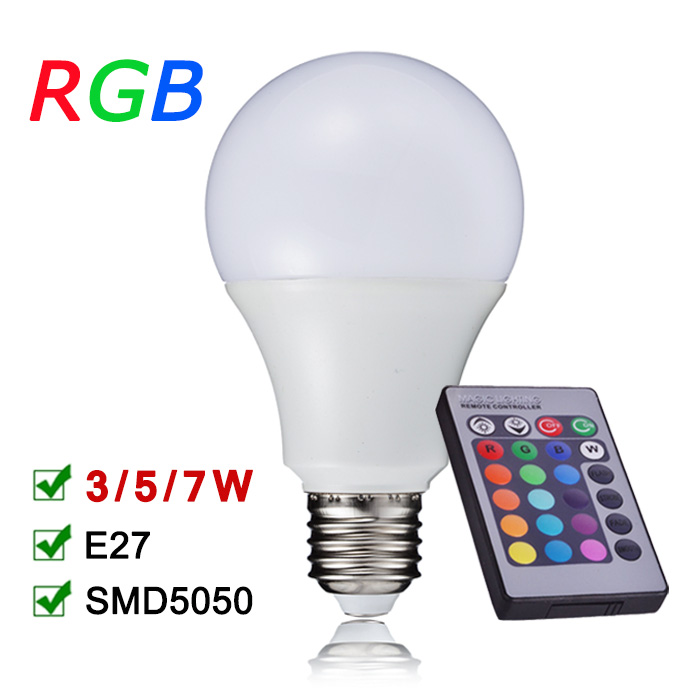 New Arrival RGB LED Bulb Light E27 110V 220V 3W 5W 7W RGB LED Lamp With IR Remote Controller Enegry Saving Lampara A65 A70 A80<br><br>Aliexpress