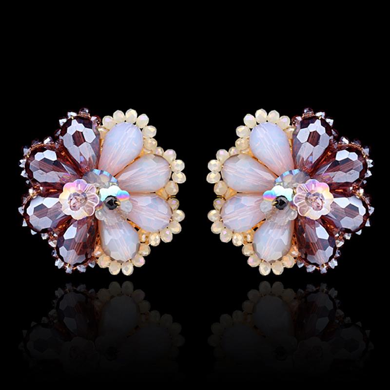 Kaymen New Brand Design Gold Plated alloy Crystal Beads Weaving Flower Stud Earrings Women Fashion Jewelry Bohemia Girl Gift - KAYMEN JEWELRY CO,.LED. store