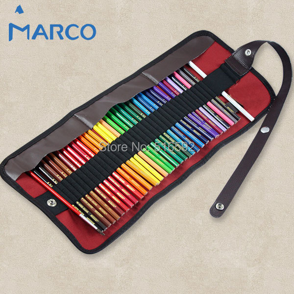 Marco 36 colors watercolor pencil set for drawing, water soluble pencil with pencil bag, roll bag, art supplies, school supplies