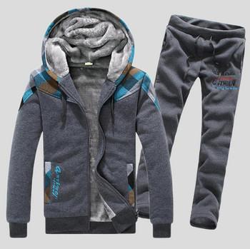 2015 новое поступление мода свободного покроя любителей капюшоном спортивный костюм мужчины печать зима толстый толстовки устанавливает WAQ026