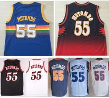 2016 Throwback 55 Dikembe Mutombo Jersey Denver Atlanta Red Blue White Black 1995 All Star Mutombo Basketball Jerseys Shhirt Rev(China (Mainland))