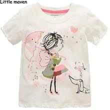 Little maven children brand clothing 2016 summer baby girls clothes Cotton little girl O-neck t shirt kids brand tee tops L064