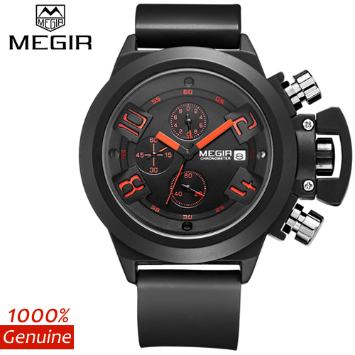 Megir Brand Men s Popular Watches Date Chronograph Sport Watch Men Guaranteed Military Watch Silicone Wristwatch
