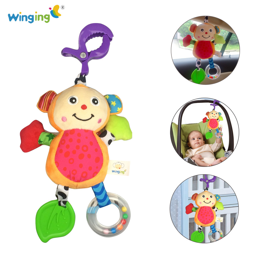 Infant Mobiles Crib Bed Baby Stroller Hanging Bell BB Sound Stuffed Animal Monkey Plush Toy Baby Hand Rattles Teether Soft Toys(China (Mainland))