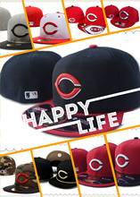 Free shipping! Wholesale Men's full Closed Cincinnati Reds fitted hat sport team performance baseball cap(China (Mainland))