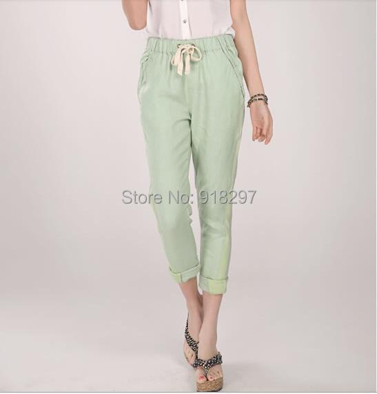 summer spring autumn Candy color fluid elastic harem women pants slim patchwork linen cotton casual female trouser - Online Store 918297 store