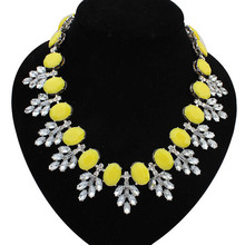 Fluorescence Resin Statement Necklace Women Rhinestone Necklace & Pendants Summer Style Jewelry colar For Gift Party(China (Mainland))