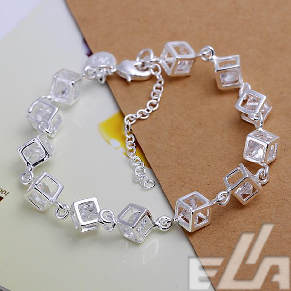 new fashion jewelry charm bracelets & bangles cube rhinestone silver plated pulseras bracelets for women & men wholesale(China (Mainland))