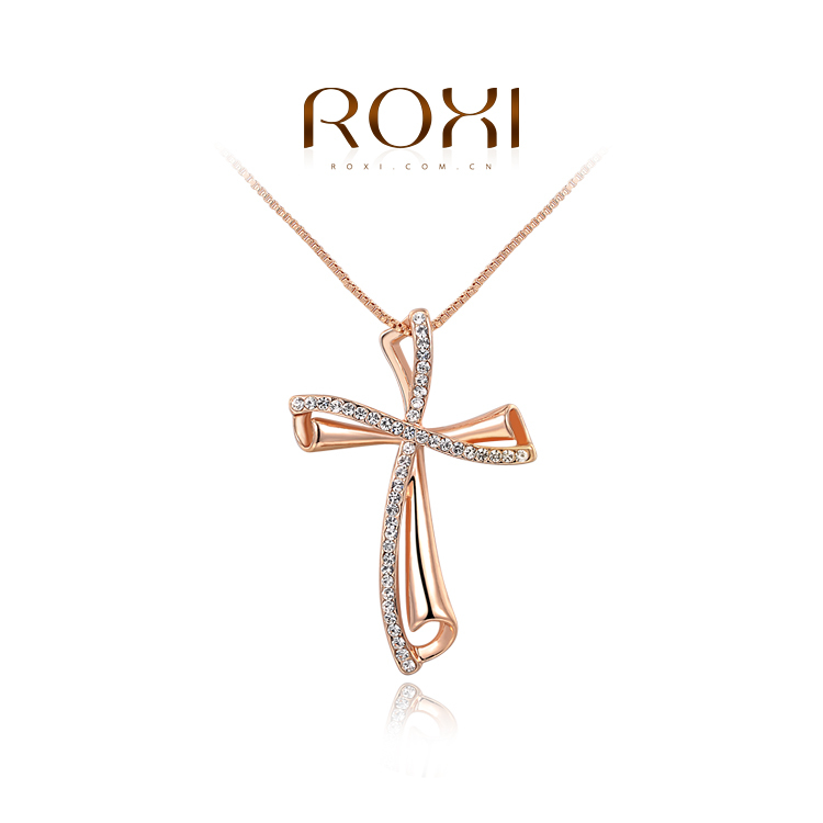 1PCS Free Shipping White Rose Gold Plated Classic Austrian Crystal Cross Pendant Necklace Jewelry Wholesale