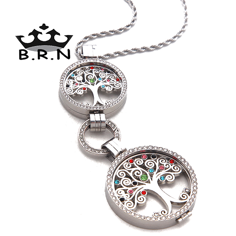 1Set New My Coin Silver Plated 33MM and 25MM Life Tree Double Coin Holder Pendant Necklace with Twisted Chain as Women Gifts(China (Mainland))