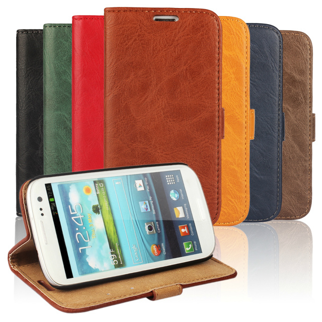 New Sale Flip Genuine Leather Case for Samsung Galaxy S3 SIII Luxury Wallet Stand Phone Cover for Samsung S3 neo i9300 i9301(China (Mainland))