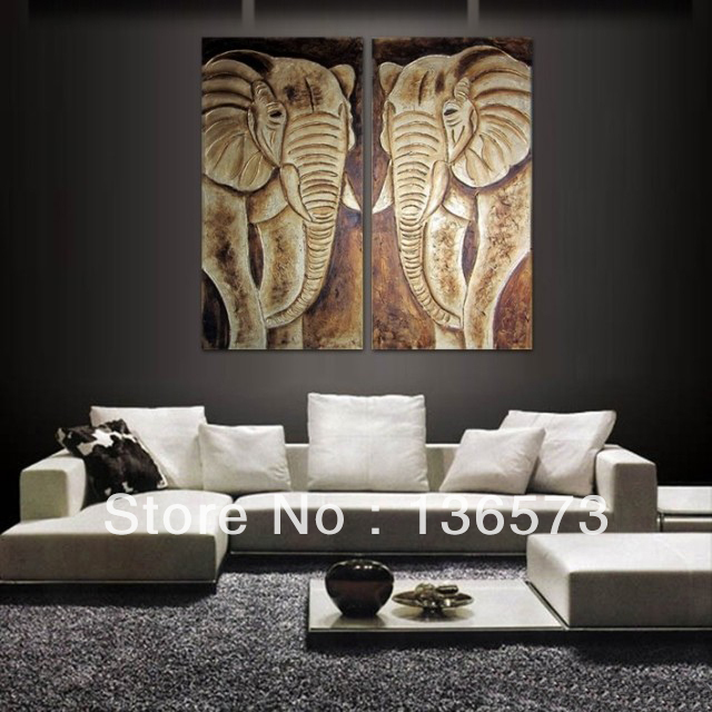 2 piece art set handpainted modern abstract grey animal elephant oil paintings on canvas wall Home decor paintings for sale india