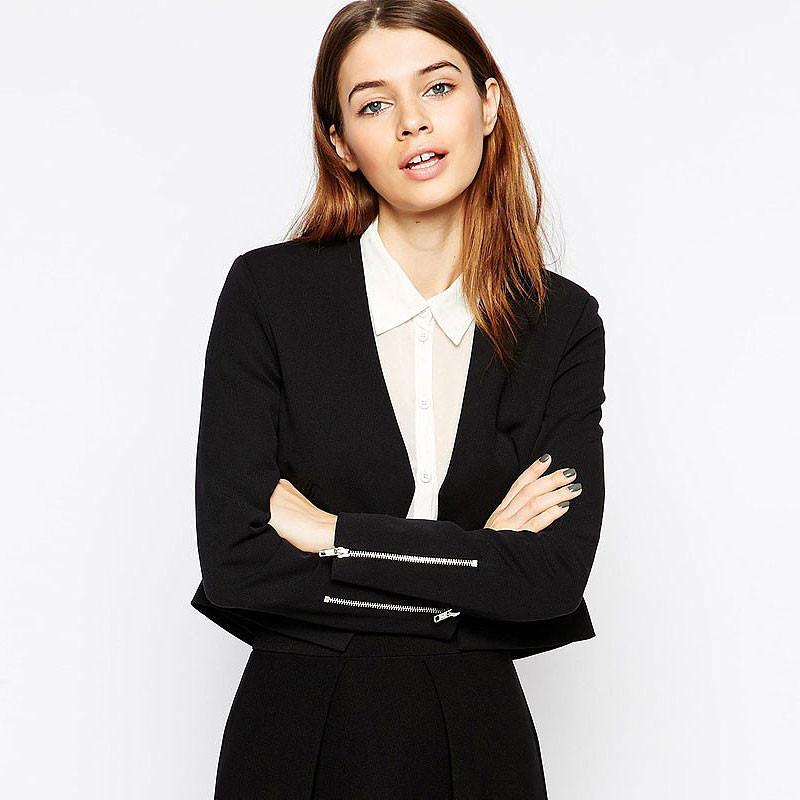 fashion blazers plus size 6 size zipper cuffs