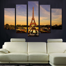 Wholesale 5pcs Eiffel Tower Oil Painting Printed Painting Oil Painting On Canvas Home Decoration Home Decor On Canvas(China (Mainland))