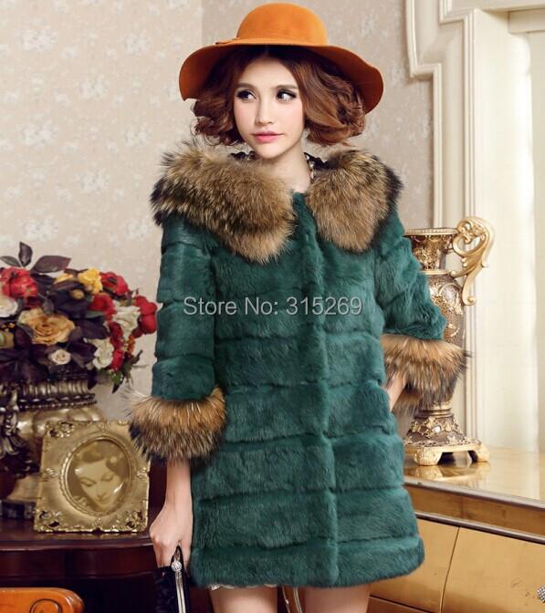 women fur coat 2014 winter rabbit Fur raccoon dog collar - sandy fashion shop store