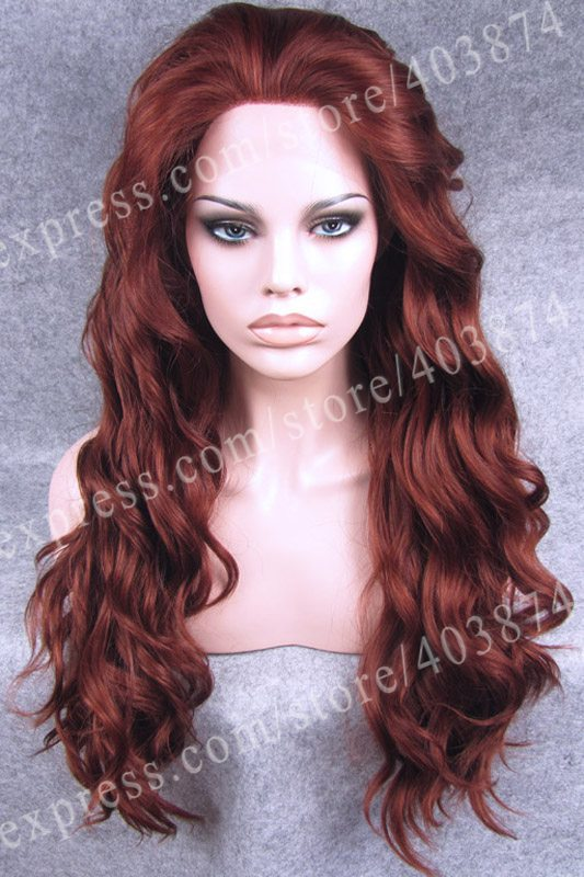 charming auburn color body wavy synthetic lace front wig for women - Auburn Coloration