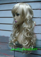 Wholesale& heat resistant LY free shipping>>>NEW COSPLAY HEAT RESISTANT LONG COSPLAY FLAXEN MIXED WITH BANG CURLY HAIR WIG