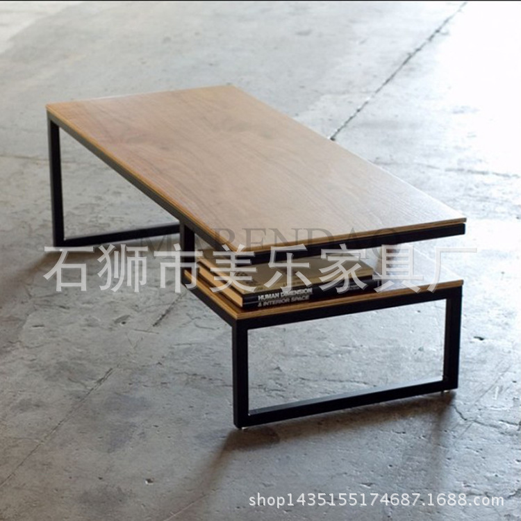 Direct American Iron rust imitation wood, wrought iron coffee table LOFT style to do the old wrought iron coffee table manufactu<br>