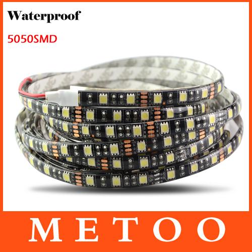 5M/Roll 300Leds RGB Led Strip Light Waterproof 5050 SMD 60Leds/M DC 12V IP65 Black PCB Board White/Warm White Ribbon String(China (Mainland))