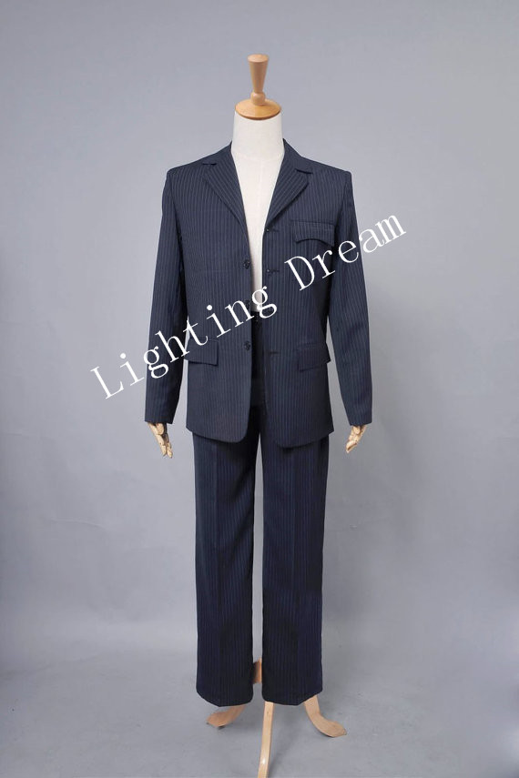 Custom Made Doctor Who 11th Doc. Blue Pinstripe Suit Outfit Costume Adult Man's Halloween Party Cosplay Costume(China (Mainland))