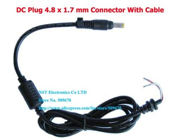 Free  shipping/5pcs/High Quality  DC Plug 4.8 x 1.7 mm Connector With Cable / Cord For HP Hewlett Packard Laptop New