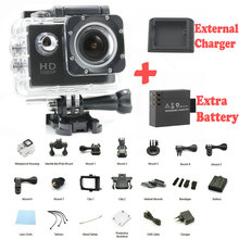 GoPro hero 3 style SJ4000 go pro camera 30M Waterproof 1080P Full HD DVR Sport action Camera Two Batteries + External Charger
