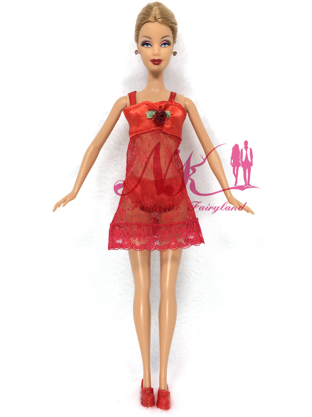 NK One Set Doll outfit  Pink Pajamas +Underwear +Bra Attractive Lace Costume Garments For Barbie Dolls Greatest Christmas Present For Baby 003D