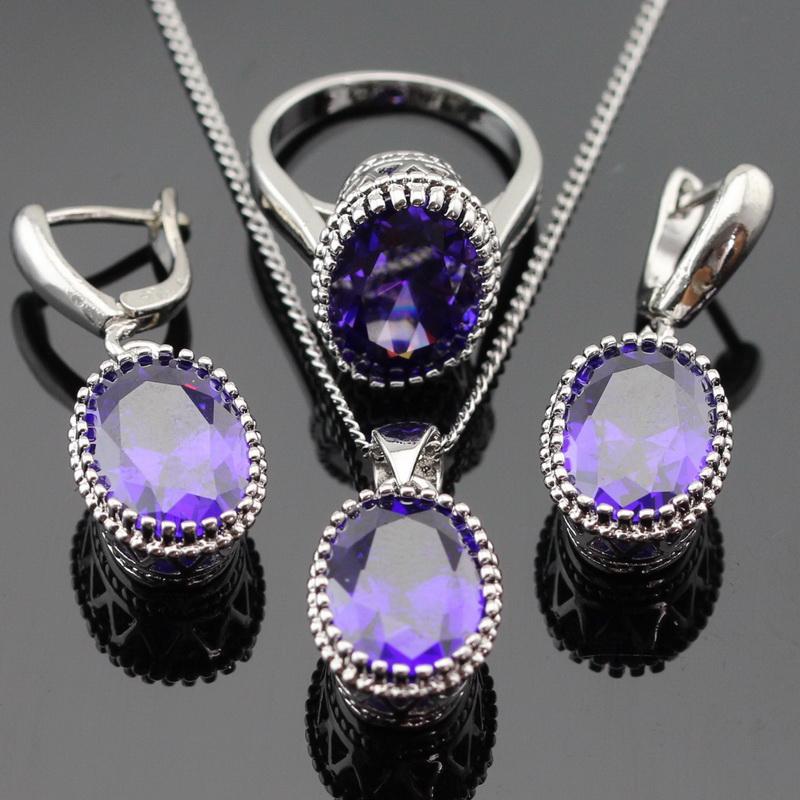 aliexpresscom buy oval created purple amethyst jewelry