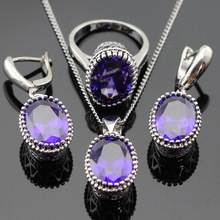 Oval Purple Amethyst Jewelry Sets For Women 925 Sterling Silver Necklace Pendant Earrings Rings Size 6 7 8 9 Free Jewelry Box(China (Mainland))