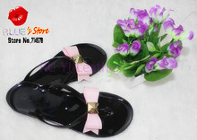 FREE SHIPPING ted bow candy flat sandals pink ted butterfly twinkle sandals black bowtie beach sandals EURO 36,37,38,39,40,41(China (Mainland))