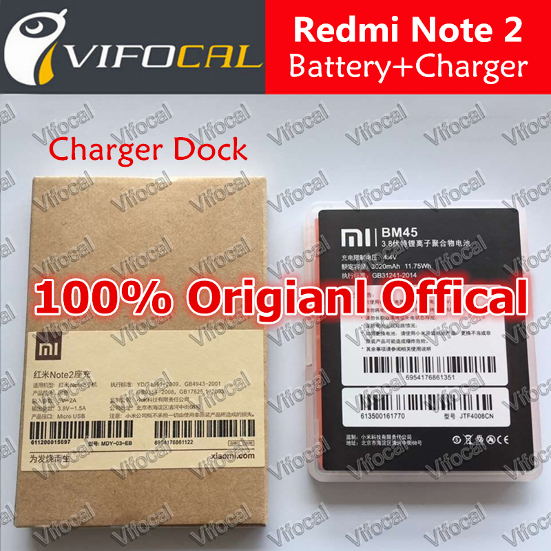 Гаджет  xiaomi Redmi Note 2 Battery + Charger Dock BM45 3020mAh 100% Original Official Replacement For Redmi Note2 Prime Mobile Phone None Бытовая электроника