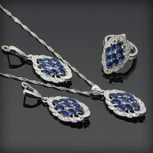 Blue Tanzanite White Crystal 925 Sterling Silver Jewellery Units For Ladies Necklace Pendant Ring Earring Free Reward Field&Transport