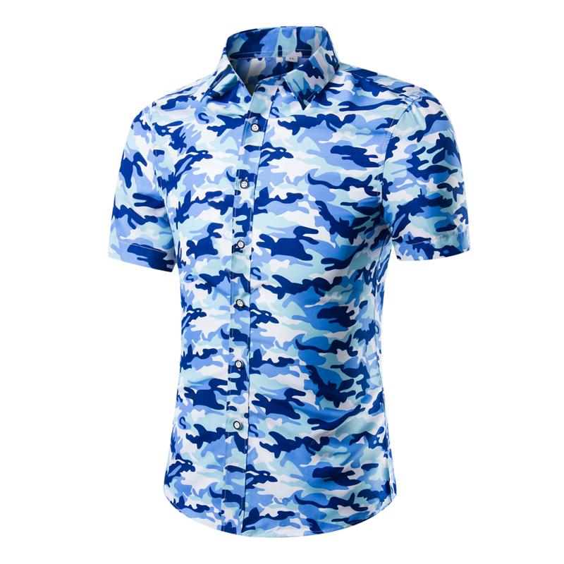 2016 New Brand Dress Men Shirt Short Sleeve Cotton Male Casual camouflage Fashion Slim Shirts Masculina Camisa Men's Clothing(China (Mainland))