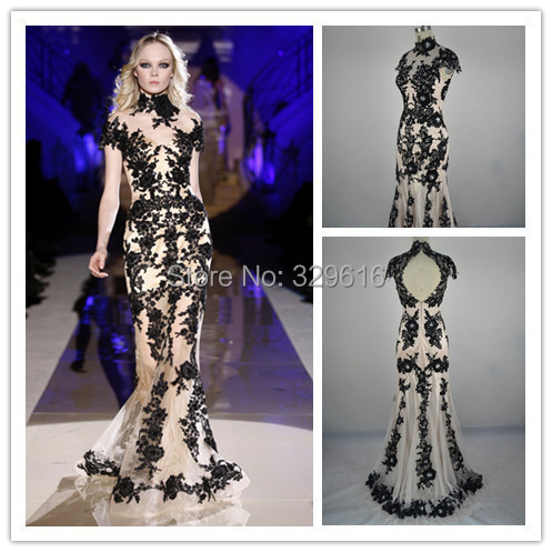 Actual Images Celebrity zuhair murad evening dresses 2015 New Arrivals High Neck Appliques Prom Formal Dresses Long Evening Gown - DIYdresses Ltd. store