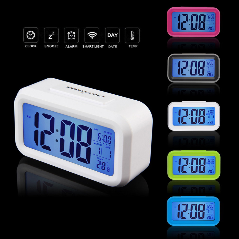 2016 free shipping LED Alarm Clock,despertador Temperature Sounds Control LED display,electronic desktop Digital table clocks(China (Mainland))