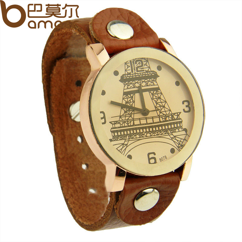 Newest Arrival Vintage Top Layer Leather Strap Watch Analog Quartz Eiffel Tower Women Men WristWatch PI0533