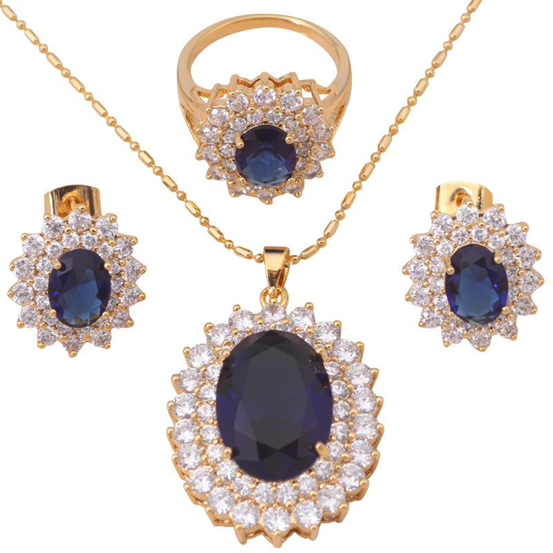18K Gold Plated Zircon Blue Topaz Ring Earring Necklace Jewelry Set Crystal Nickel & Lead free #6.75 #7.5 JS076A - Jos fan's store