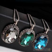 Women's Vintage Carved Alloy Rhinestone Cube Oval Pendant Sweater Long Chain Necklace 1P6O(China (Mainland))