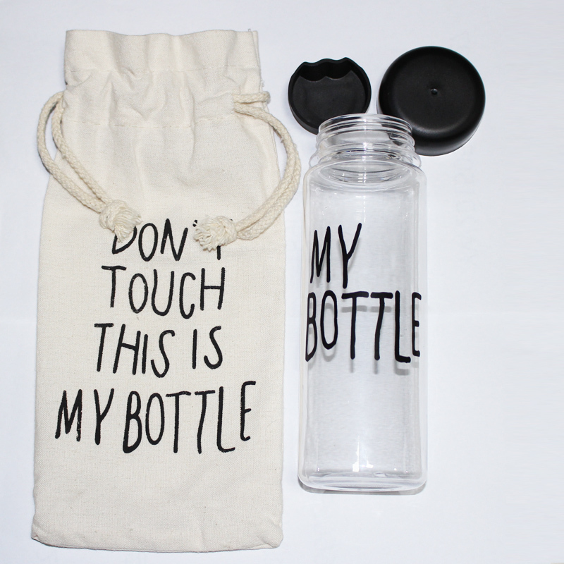 """""""My bottle"""" 500 ml Korea Style Plastic Clear Portable Sportive Water Bottle With Gift Bag(China (Mainland))"""