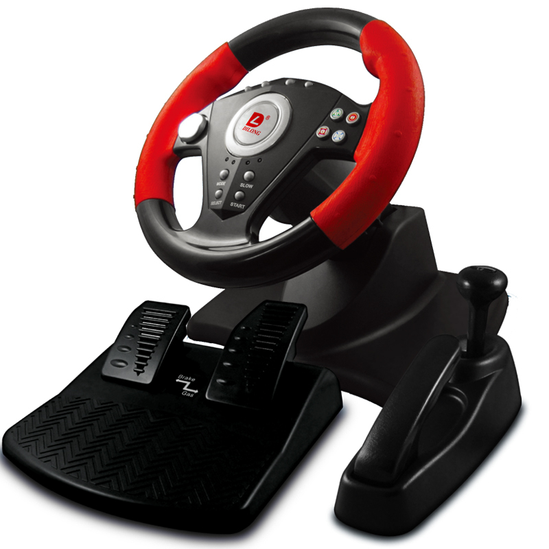 pc game hardware racing steering wheels pedals with hand. Black Bedroom Furniture Sets. Home Design Ideas