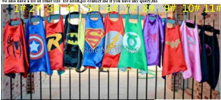 Halloween cape children satin 5 70*70cm Superhero Kids Superman Cape cartoon Batman Spiderman free shpping - Mandela Mandy's store