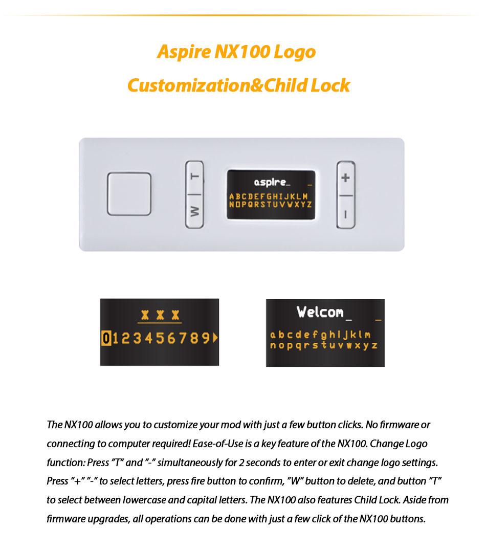 ถูก ของแท้100วัตต์Aspire NX100 TCบุหรี่อิเล็กทรอนิกส์สมัยกล่องสมัยTC/VWโหมดw/0.96นิ้วTFTหน้าจอ